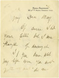"Autographs:Artists, Mary Cassatt Autograph Letter Signed. Six pages, 5.5"" x7"", Mesnil-Beaufresne letterhead, np, nd. Painter associated with Deg..."
