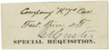 """Autographs:Military Figures, George Armstrong Custer Document Signed """"G. A. Custer"""", partial document, one page, 3.75"""" x 1.5"""", Fort Rice, North Dakot..."""
