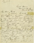 "Autographs:Military Figures, George Armstrong Custer Asks For Boston Custer's Commission in the7th Cavalry. Autograph Letter Signed ""G. A. Custer"". ..."