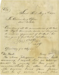 """Autographs:Military Figures, George Armstrong Custer Autograph Note Signed. Signed: G.A.Custer Brig. General U.S.A, two pages, 7.75"""" x 9.75"""", np, Ma..."""