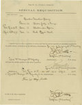"Autographs:Military Figures, Frederick Benteen 7th Cavalry Partially Printed Document Signed,""F.W. Benteen"" and countersigned ""Elmer Otis"", one..."