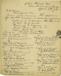 """Autographs:Military Figures, 7th Cavalry Officer Roster, Manuscript Document Signed, """"C.A. Varnum"""", one page, 8"""" x 10"""", San Francisco, California, Ap..."""