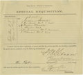 "Autographs:Military Figures, 7th Cavalry Partially Printed Document Signed, ""F.M. Gibson""and ""Elmer Otis"", one page with docketing, 8.25"" x 7.5""..."