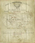 """Autographs:Military Figures, 7th Cavalry Discharge Document Signed, """"W.S. Edgerly"""", one page with docketing, 7.75"""" x 9.5"""", Fort Yates, Dakota Territo..."""