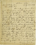 "Autographs:Military Figures, Nathan Bedford Forrest Autograph Letter Signed, ""N BForrest"", one page, 7.5"" x 9.75"", Selma, Alabama, July 24,1869, to..."