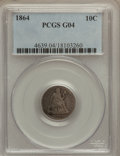 Seated Dimes: , 1864 10C Good 4 PCGS. PCGS Population (3/49). NGC Census: (0/37).Mintage: 11,000. Numismedia Wsl. Price for problem free N...