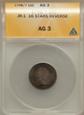 Early Dimes: , 1798/97 10C 16 Stars on Reverse AG3 ANACS. JR-1. NGC Census:(0/49). PCGS Population (3/61). Mintage: 27,550. Numismedia W...