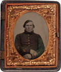 Photography:Ambrotypes, Ninth Plate Federal Infantryman In Patriotic Thermoplastic Case....