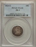 Bust Dimes: , 1824/2 10C VG10 PCGS. JR-1. PCGS Population (2/52). NGC Census:(0/49). Mintage: 100,000. Numismedia Wsl. Price for proble...