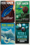 Books:Science Fiction & Fantasy, [Jerry Weist]. Peter F. Hamilton. Group of Four First Edition Books, Two Signed. Macmillan, 1997-2000. Fine.... (Total: 4 Items)