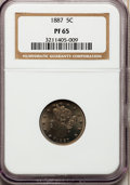 Proof Liberty Nickels: , 1887 5C PR65 NGC. NGC Census: (169/48). PCGS Population (134/48).Mintage: 2,960. Numismedia Wsl. Price for problem free NG...