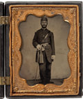 Photography:Tintypes, Very Fine Quarter Plate Tintype Of Civil War US Officer in GreatFrancis Marion Case....