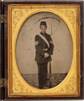 Photography:Ambrotypes, Quarter Plate Ambrotype Of Young Infantry Sergeant Or Cadet In RareFalcon And Huntress Case....