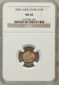 Seated Half Dimes, 1838 H10C Large Stars, No Drapery MS66 NGC....