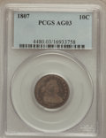 Early Dimes: , 1807 10C AG3 PCGS. PCGS Population (14/316). NGC Census: (0/212).Mintage: 165,000. Numismedia Wsl. Price for problem free ...