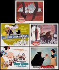 """Movie Posters:Animation, Snow White and the Seven Dwarfs & Other Lot (Buena Vista, R-1967). Title Lobby Cards (2) & Lobby Cards (3) (11"""" X 14""""). Anim... (Total: 5 Items)"""