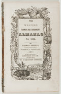 Books:Americana & American History, Thomas Affleck. The Western Farmer and Gardner's Almanac.Edward Lucas, 1842. Twelvemo. Disbound. Poor....