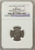 Bust Dimes: , 1814 10C Small Date -- Improperly Cleaned -- NGC Details. VF. JR-1.NGC Census: (0/41). PCGS Population (1/25). Numismedia...