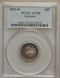 Seated Dimes: , 1853-O 10C Arrows AU50 PCGS. PCGS Population (2/26). NGC Census:(0/22). Mintage: 1,100,000. Numismedia Wsl. Price for prob...