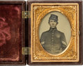 Photography:Ambrotypes, Ninth Plate Civil War Ambrotype Of Federal Infantry Corporal In Mint Union And Constitution Thermoplastic Case....