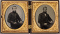 Photography:Ambrotypes, A Fascinating Pair Of Sixth Plate Civil War Ambrotypes....