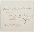 Autographs:Non-American, Amelia B. Edwards. Autograph Sentiment Signed. Good. ...