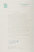 Autographs:Non-American, Begum Nusrat Bhutto. Typed Letter Signed. Good. ...