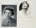 Autographs:Authors, Gladys Hasty Carroll. Two Signed Photographs and a Signed Card. Near fine....