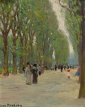 Fine Art - Painting, American:Modern  (1900 1949)  , JANE PETERSON (American, 1876-1965). Paris Park Scene. Oilon canvas laid on board . 9-1/2 x 7-1/2 inches (24.1 x 19.1 c...