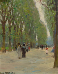 JANE PETERSON (American, 1876-1965) Paris Park Scene Oil on canvas laid on board 9-1/2 x 7-1/2 i