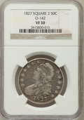 Bust Half Dollars, 1827 50C Square Base 2 VF30 NGC. O-142. NGC Census: (36/1874). PCGSPopulation (64/1707). Mintage: 5,493,400. Numismedia Ws...