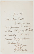 Autographs:Artists, Sir Frederick W. Burton. Autograph Note Signed. Good....