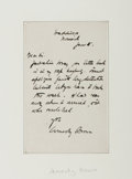 Autographs:Artists, John Arnesby Brown. Autograph Note Signed. Good....