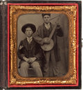 Photography:Tintypes, Sixth Plate Civil War Tintype of Banjo Player....