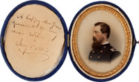 Absolutely Exquisite Portrait Of A Civil War Federal Officer With Presentation To His Wife