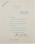 Autographs:Authors, Edward W. Bok. Typed Note Signed. Fair....