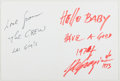 Autographs:Artists, Ted de Grazia. Inscribed Greeting Card. Near fine....