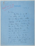 Autographs:Authors, Walter De La Mare. Autograph Letter Signed. Good....