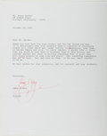 Autographs:Authors, James Dickey. Typed Letter Signed. Good....