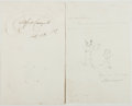 Autographs:Artists, Alfred Crowquill. Autograph Note Signed with Original Sketch.Good....