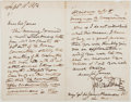Autographs:Artists, George Cruikshank. Autograph Letter Signed. Good....