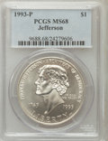 Modern Issues: , 1993-P $1 Jefferson Silver Dollar MS68 PCGS. PCGS Population(229/3769). NGC Census: (59/2210). Mintage: 266,927. Numismedi...