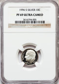Proof Roosevelt Dimes: , 1996-S 10C Silver PR69 Ultra Cameo NGC. NGC Census: (702/104). PCGSPopulation (2295/85). Numismedia Wsl. Price for proble...