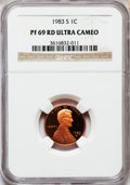Proof Lincoln Cents, 1983-S 1C PR69 Red Ultra Cameo NGC. NGC Census: (390/0). PCGSPopulation (1558/32). Numismedia Wsl. Price for problem free...