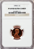 Proof Lincoln Cents, 1990-S 1C PR69 Red Ultra Cameo NGC. NGC Census: (663/73). PCGSPopulation (3205/103). Numismedia Wsl. Price for problem fr...