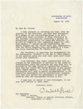 """Autographs:Statesmen, Cordell Hull Typed Letter Signed. One page, 8.5"""" x 11"""", WashingtonD.C., August 19, 1944. Secretary of State under Franklin ..."""