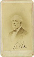 "Autographs:Military Figures, Robert E. Lee Signed Carte de Visite having the General'swell-known ""R E Lee"" penned on the obverse. The versocarr..."