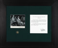 Autographs:Military Figures, Douglas MacArthur and Matthew Ridgway Signature Display. This handsome green and black display features two legendary figure...