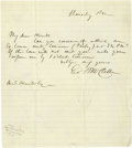 """Autographs:Military Figures, George B. McClellan Autograph Letter Signed """"Geo B McClellan"""". One page, 8"""" x 9"""", lined paper, np, Thursday PM, to A. S...."""