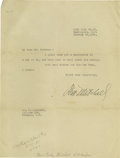 """Autographs:Military Figures, Billy Mitchell Typed Letter Signed """"Wm. Mitchell"""". One page, 8"""" x 11"""" Washington D.C., January, 15, 1926. In full: """"Dea..."""